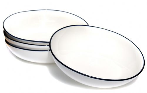 Blue rim Ocean Wave White ceramic bowls 20cm X4